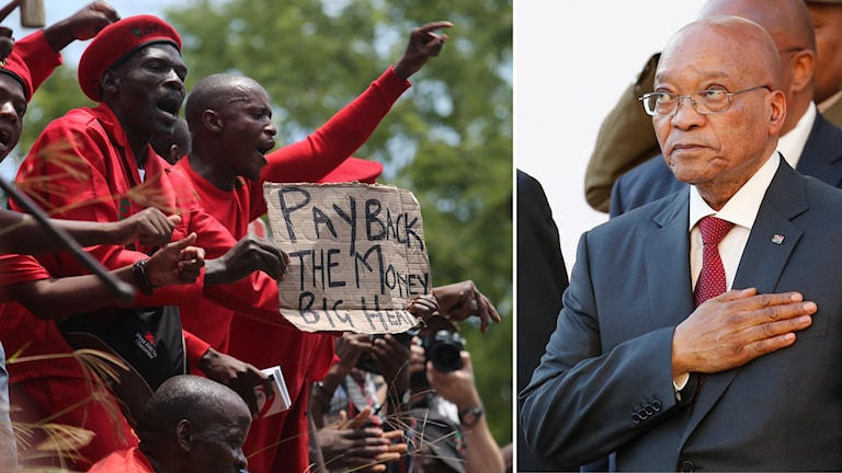 Protester mot president Jacob Zuma i Sydafrika. Foto: Denis Farrel/TT, Mike Hutchings/TT