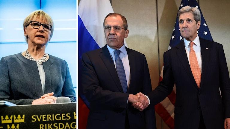 Utrikesminister Margot Wallström (S), Rysslands utrikesminister Sergey Lavrov och USA:s utrikesminister John Kerry.
