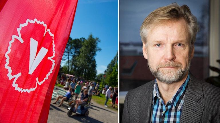 Vänsterpartilogga och Tomas Ramberg
