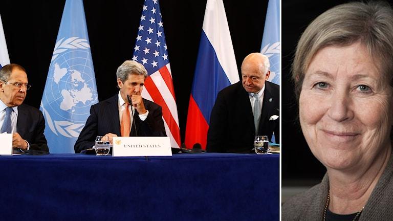 Agneta Ramberg i bildmontage med USA:s utrikesminister John Kerry, Rysslands utrikesminster Sergey Lavrov, och FN:s Staffan de Mistura