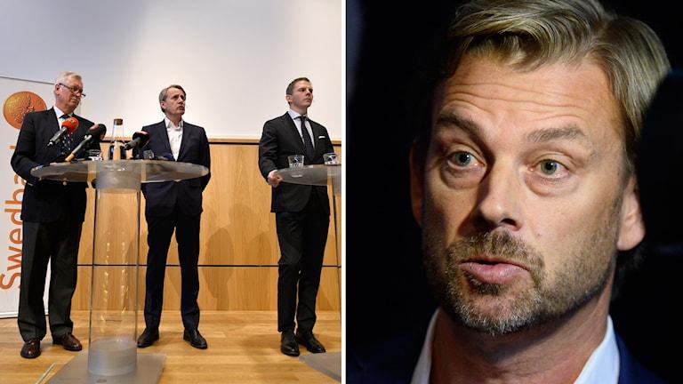 Advokat Hans Strandberg, styrelseordförande Anders Sundström och advokat Olle Kullinger. Till höger Michael Wolf, tidigare vd på Swedbank.