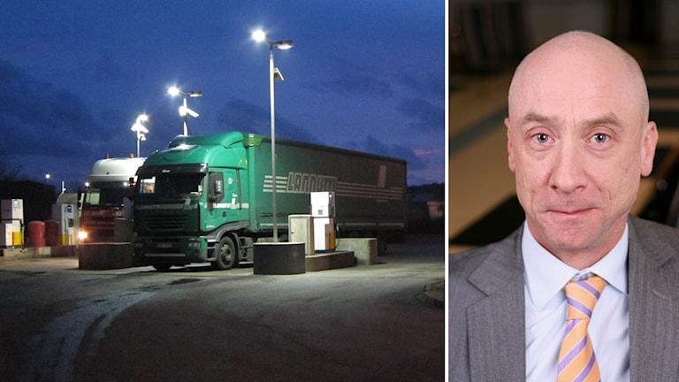 Lastbil i Calais. Tommy Pilarp, jurist på Transportindustriförbundet.