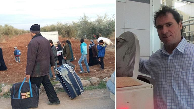 Syrier på flykt undan regimens offensiv i norr.