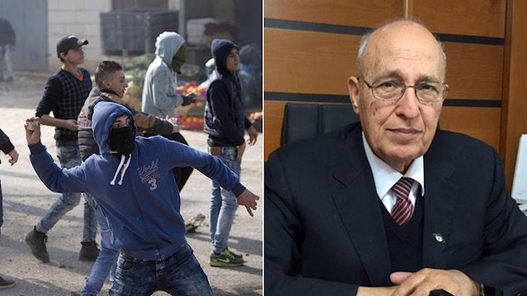 Palestinska demonstranter kastar sten mot israelisk militär på Västbanken. Al-Fatahas utrikespolitiske talesman Nabil Saath.