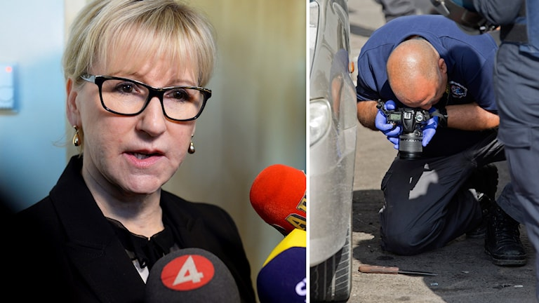 Israelisk polis fotar kniv. Margot Wallström