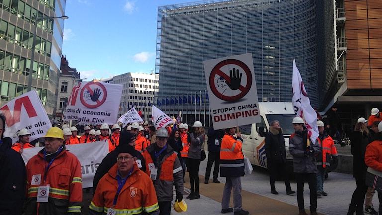 Stålprotester i Bryssel.