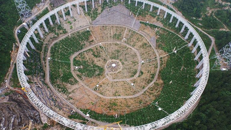 Teleskopet FAST ska leta efter utomjordiskt liv. Foto: TT.