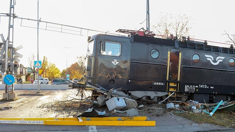 Tåg spårade ur i centrala Sala.