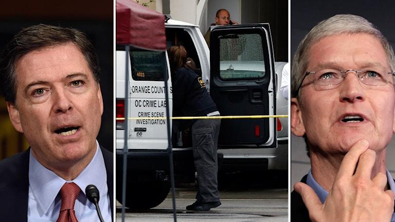 """Apple har inte tekniken i dag att låsa upp telefonen enligt företagets VD Tim Cook. """"Jag vill att folk ska följa domstolsbeslut"""" svarar FBI:s James Comey."""