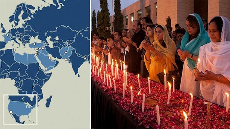 Karta visar IS-kopplade attacker. Människor som sörjer offer för en IS attack i Pakistan Foto: Shakil Adil/TT. Grafik: Susanne Lindeborg/Sveriges Radio.