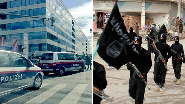 Polisbilar i Österrike och IS-krigare i Syrien. Foto: Facad Mulla, AP