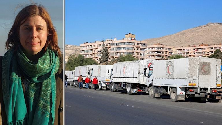 Katja Magnusson rapporterar om matleveranser på väg mot belägrade områden i Syrien.