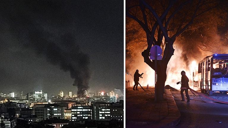 Explosion Ankara eld rök
