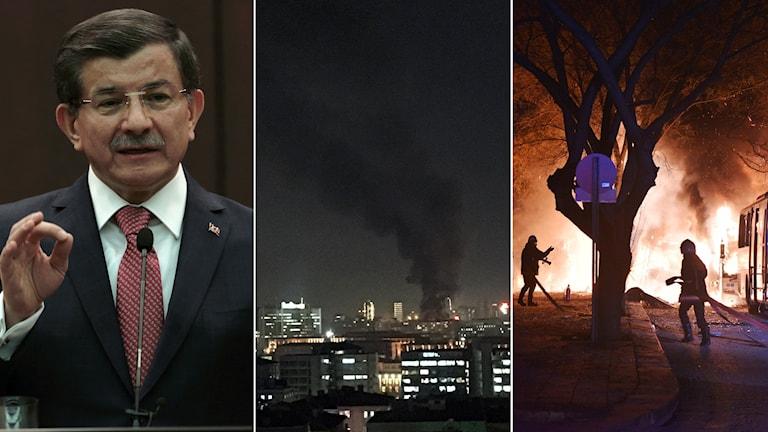 Turkiets premiärminister, bilder på rök och eld.