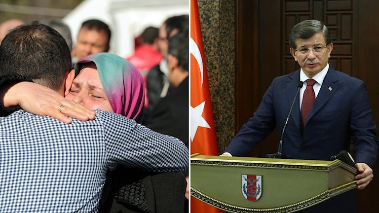 Premiärministern Ahmet Davutoglu och två ledsna människor som kramas.