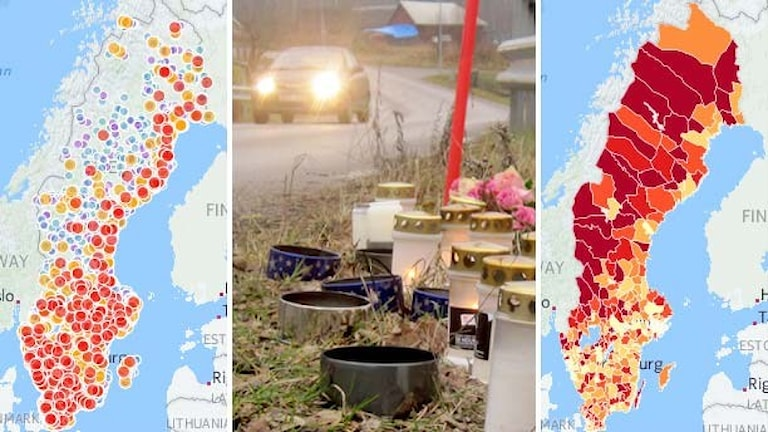 Kartor visar trafikolyckor. Tända ljus i vägrenen. Foto: Sveriges Radio, P4 Kalmar.