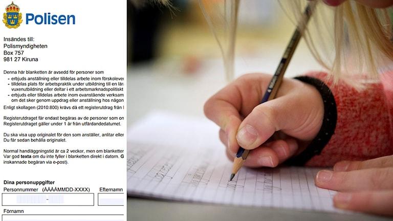 Delad bild: Begäran om utdrag ur belastningsregistret samt flicka som studerar. Foto: Polisen samt Jessica Gow/TT.