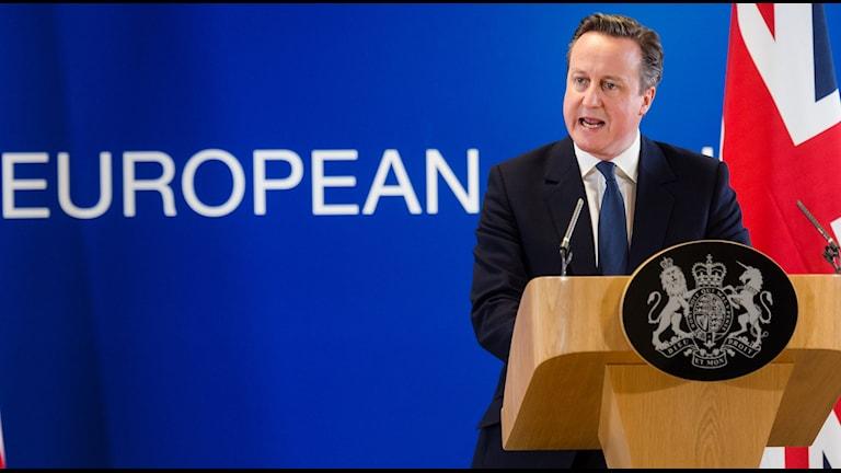 Den brittiske premiärministern David Cameron under en presskonferens efter EU-toppmötet.