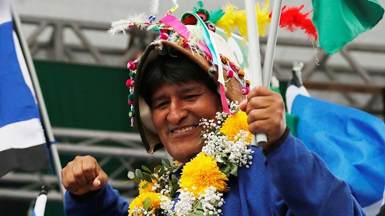 Bolivias president ler under sin avslutande valkampanj.
