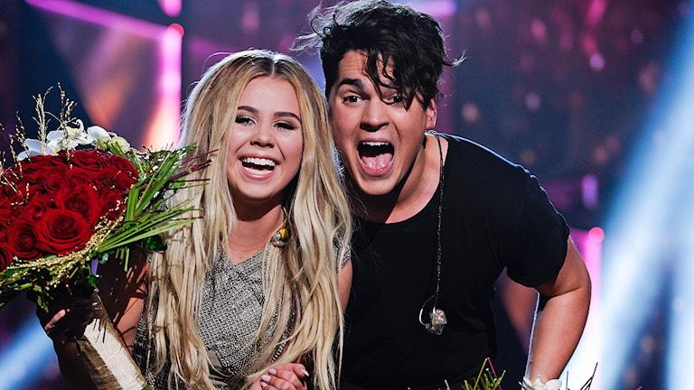 Lisa Ajax och Oscar Zia gick vidare från Melodifestivalens tredje deltävling. Foto: Janerik Henriksson/TT