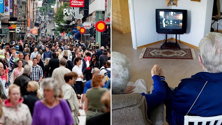 Folkhav t.h och t.v. en äldre man och kvinna som håller handen framför tvn.