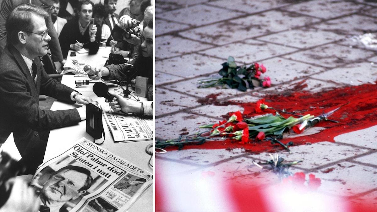 """Ingvar Carlsson håller presskonferens. På bordet framför honom en tidning med rubriken """"Olof palne död, skjuten i natt"""". Blodspår och blommor på trottoar. Foto: Anders Holmström/TT."""