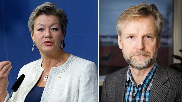 Arbetsmarknadsminiter Ylva Johansson och Ekots kommentator Tomas Ramberg