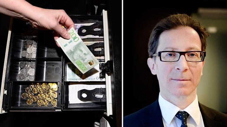 Svenska sedlar kassapparrat och Riksgäldsdirektör Hans Lindblad