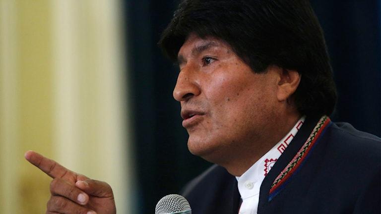 Bolivias president Evo Morales vid presskonferensen tidigare i dag.