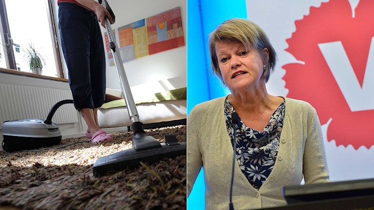 En person dammsuger, Vänsterpartiets budgetförhandlare Ulla Andersson. Foto: TT.