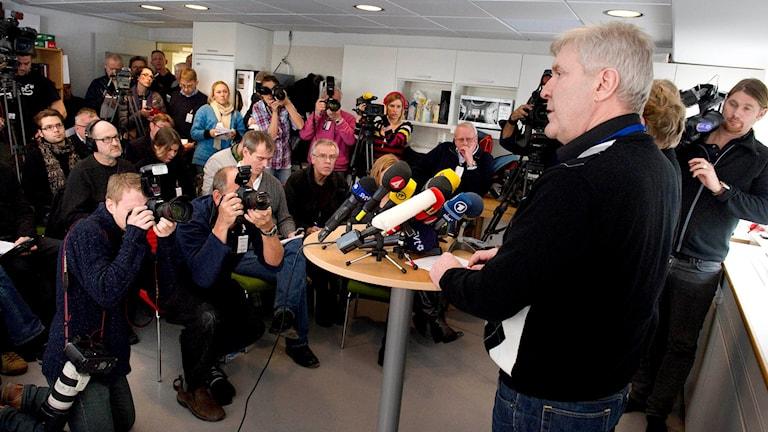 Så här såg det ut när Palmegruppen höll presskonferens 2011 då det gått 25 år efter mordet.