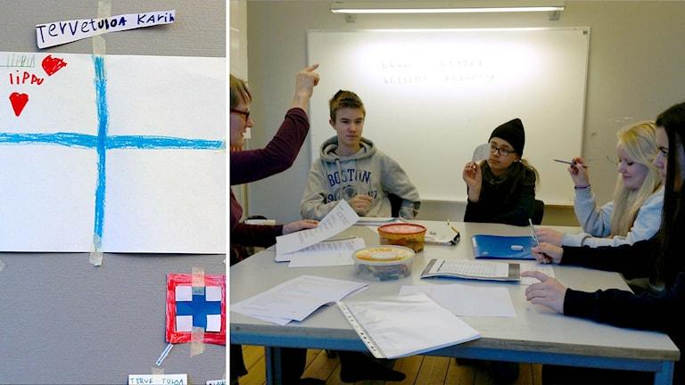 Finsk flagga ritad av ett barn. Elever i lektionssal. Foto: Karin Wirenhed/Sveriges Radio.