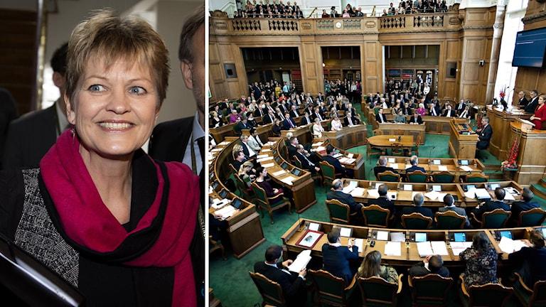 Miljö- och livsmedelsminister Eva Kjer Hansen till vänster. Danska Folketinget till höger.