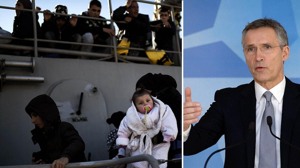 Flyktingar som räddats av grekisk kustbevakning går i land. Till höger Natos generalsekreterare Jens Stoltenberg.