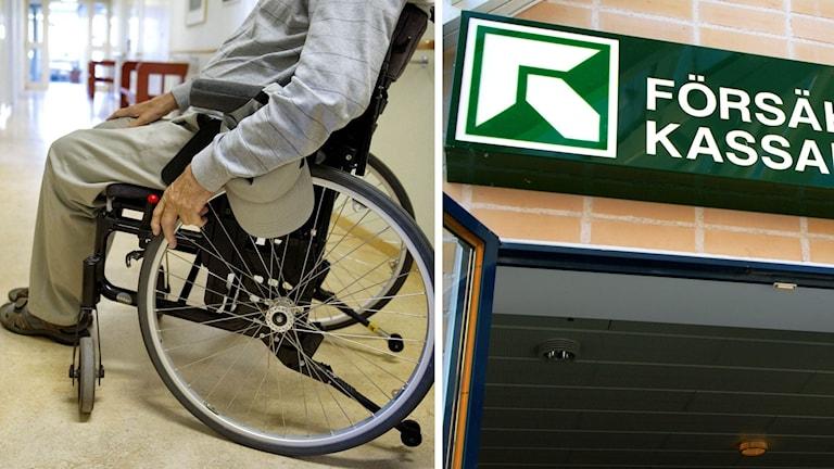 Man i rullstol och Försäkringskassans skylt.