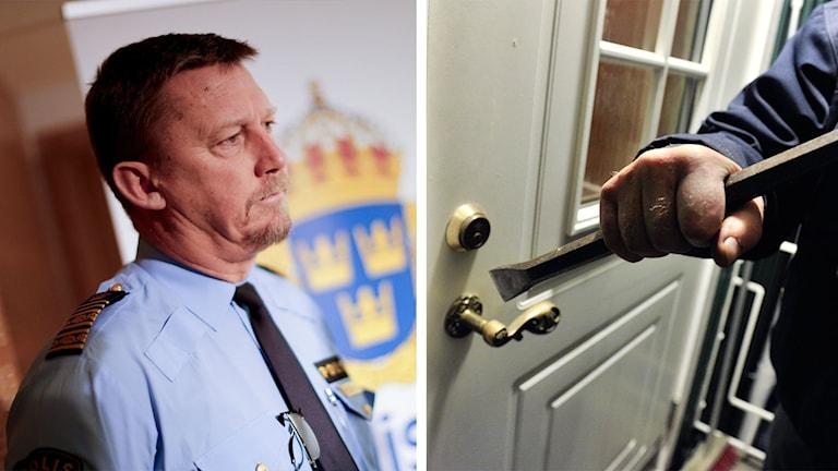 Klas Friberg och ett pågående inbrott i en villa. Foto: Adam Ihse och Jonas Ekströmer/TT.
