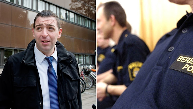 T.h. Roger Haddad och t.v poliser.