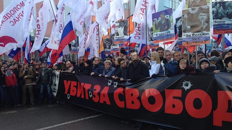 Minst 20 000 beräknas ha deltagit i minnesmarschen i centrala Moskva.
