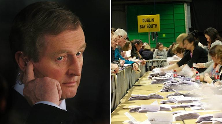Irlands premiärminister Enda Kenny från partiet Fine Gail erkände sig besegrad redan innan alla röster räknats.