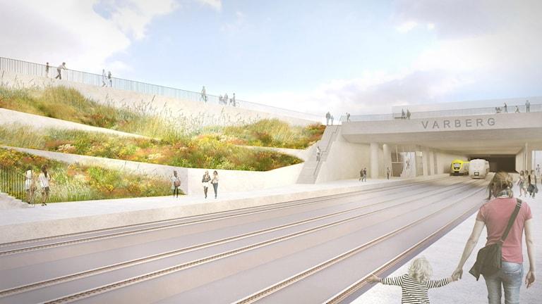 Bygget av Varbergstunneln tar bort en av de sista flaskhalsarna av enkelspår på Västkustbanan.