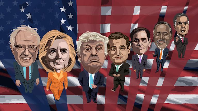 Illustration av demokraternas och republikanernas kandidater. Illustration: Susanne Lindeborg