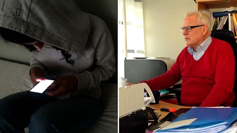Flicka med huvtröja tittar ner i mobiltelefon. Chefsåklagare Patrik Säflund. Foto: Marcus Eriksson/Emelie Rosén/Sveriges Radio.