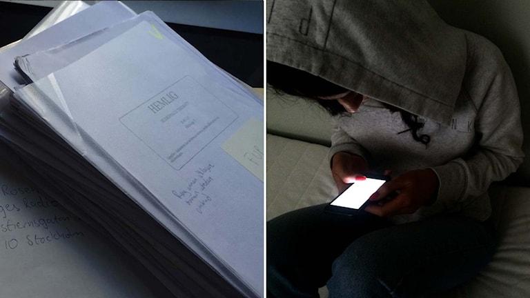 """Hög med dokument med stämpel """"Hemlig"""". Flicka med huvtröja ser ner i mobiltelefon. Foto: Marcus Eriksson/Sveriges Radio."""