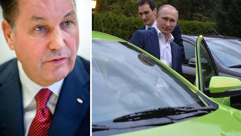 Bo Andersson och Putin som stiger in i bil.