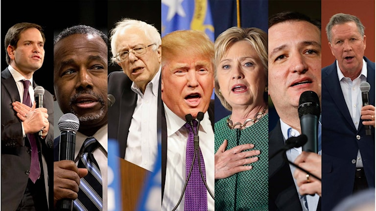 Marco Rubio, Ben Carson, Bernie Sanders, Donald Trump, Hillary Clinton, Ted Cruz, John Kasich. Foto: TT.