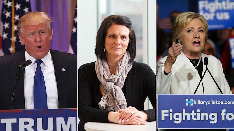 Republikanen Donald Trump, statsvetaren Frida Stranne och demokraten Hillary Clinton.