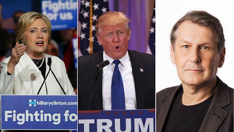Bildmontage: Demokraternas Hillary Clinton, Republikanen Donald Trump och Ekots utrikespolitiske kommentator Sten Sjöström.
