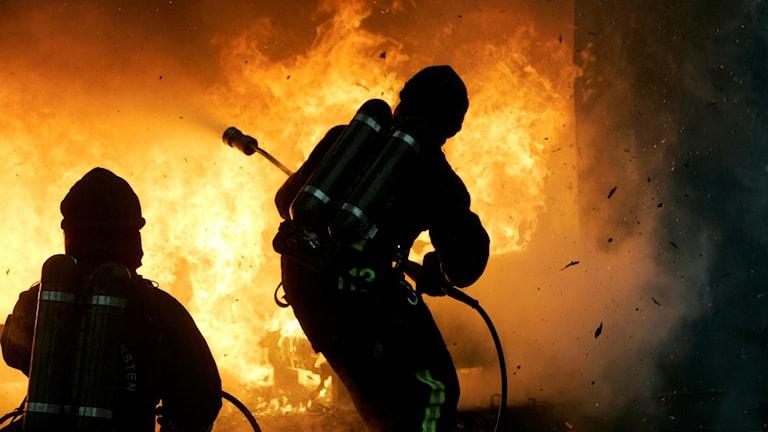 Stockholms brandförsvar demonstrerar brandsläckning.