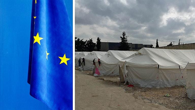 Eu-flagga och tältläger i Grekland.