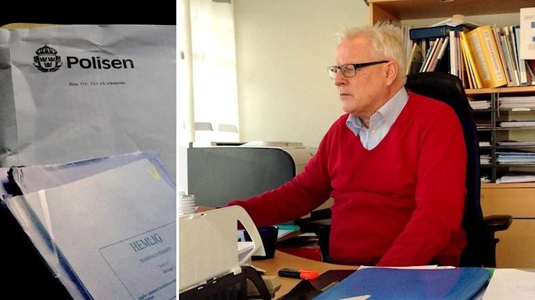 """Papper stämplat """"Hemligt"""" på kuvert med Polisens logotyp. Patrik Säflund vid sitt skrivbord."""